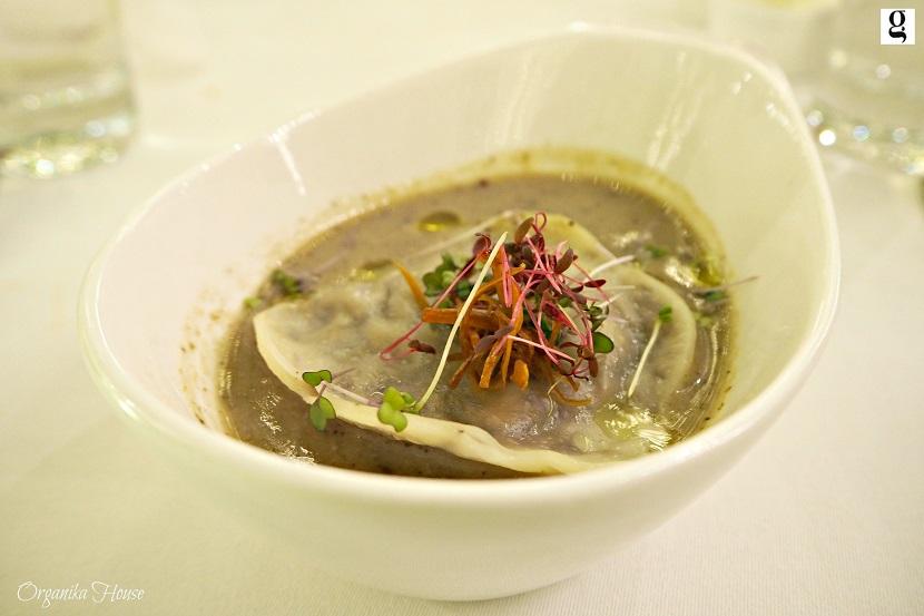 ushroom Truffle Soup - Fresh Shiitaki mushroom soup infused with black truffle and with mushroom ravioli