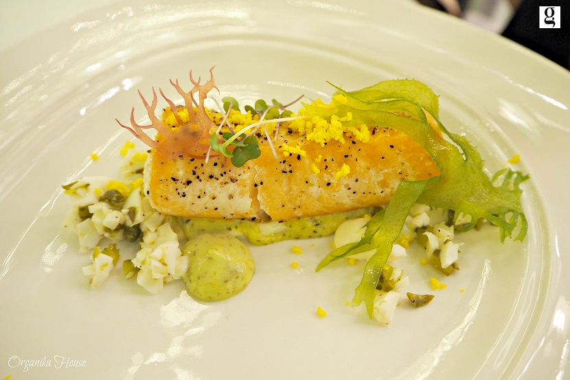 Salmon & Dill – Slow cooked salmon roll with egg white and yolk, dill sauce